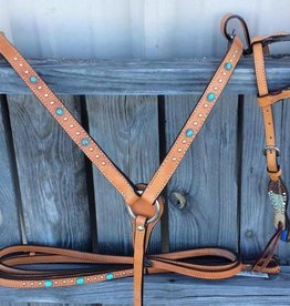 Alamo Saddlery One Ear Turquoise Tack Set