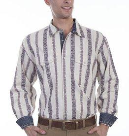 Scully Sportswear, INC Men's Scully Signature Series Doby Stripe Western Shirt, Cream XL