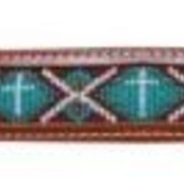 Showman Showman Beaded Leather Wither Strap - Turquoise