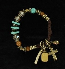 M & F Western Products Bracelet - Braided Charms & Stones
