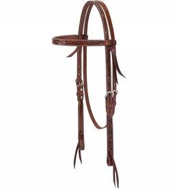Weaver Carved Chestnut Browband Headstall