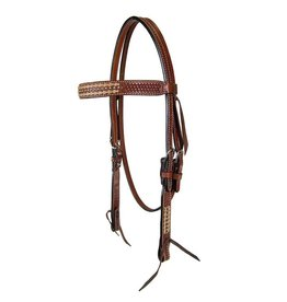 Weaver Browband Headstall, Rawhide & Spots