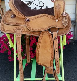 """Tough-1 16"""" Cowboy Roughout Saddle with Serpentine Tooling"""