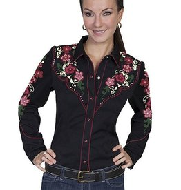 Scully Women's Scully Floral Embroidered Western Shirt, Black