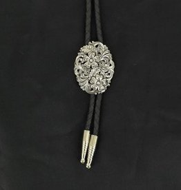 M & F Western Products Bolo - Oval Silver Scroll