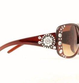 M & F Western Products Sunglasses - Brn Round Concho/Crystal