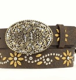 "Nocona Brown 1 1/2"" Flower Crystal Belt"