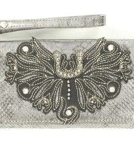 M & F Western Products Wallet - Clutch, Silver Horseshoe Snake