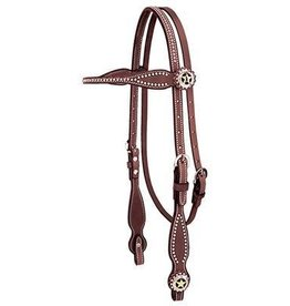 Weaver Leather Company Texas Star Scalloped Browband Headstall