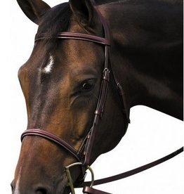 HDR Henri de Rivel Pro Plain Raised Bridle with Laced Reins, Havana - Pony (Reg $79.95 NOW 40% OFF)
