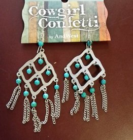 Cowgirl Confetti Earrings - Caged Guardian, Drop Turquoise