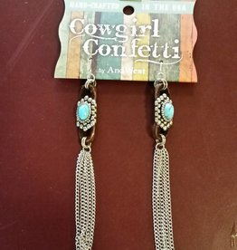 Cowgirl Confetti Earrings - Turquoise Duster, Drop Chain