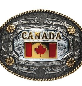 Two-Tone Antique Oval Canada Flag Regional Buckle