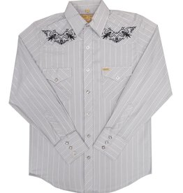 White Horse Apparel Men's White Horse Grey Stripe Embroidered Shirt