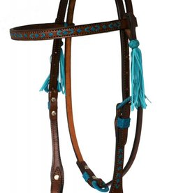 Alamo Saddlery Headstall with Turquoise Rawhide Southwestern Design