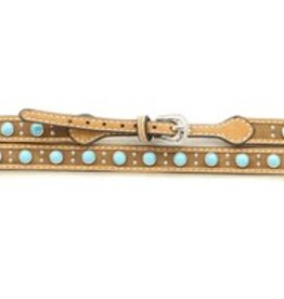 M & F Leather Hat Band w/ Turquoise Stones