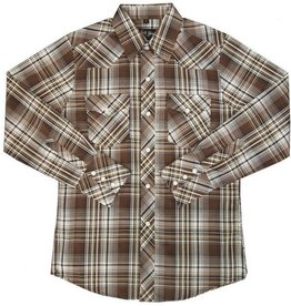White Horse Apparel Children's White Horse Plaid Western Shirt 65/35 - Brown