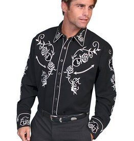 Scully Men's Scully Rose Embroidery Western Shirt