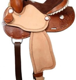 Double T Double T Barrel Saddle w/Silver Laced Rawhide Cantle - 16""