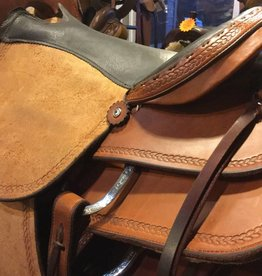 "Circle L Circle L Roughout Saddle w/ Rope Tooling - 16"", FQHB"