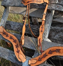Alamo Saddlery Light Leather Arrow Tool Copper Paint Headstall