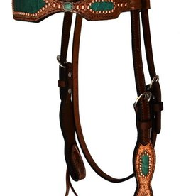 Alamo Saddlery Browband Headstall w/ Copper and Teal