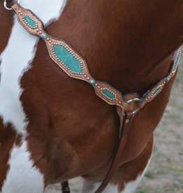 Alamo Saddlery Breast Collar w/ Copper & Teal