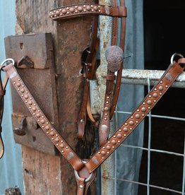 Alamo Saddlery Browband Headstall w/ Copper Spots & Skull Buckles