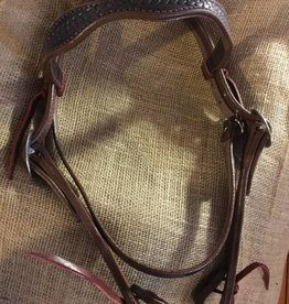 Circle L Circle L Headstall, Scalloped, Rope Embossed, U.S.A. Made - Horse Size
