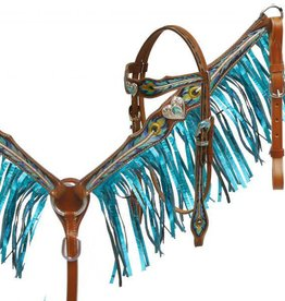 Showman Peacock Metalic Fringe Tack Set