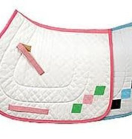 Equine Couture Argyle A/P Saddle Pad White/Pink/Green