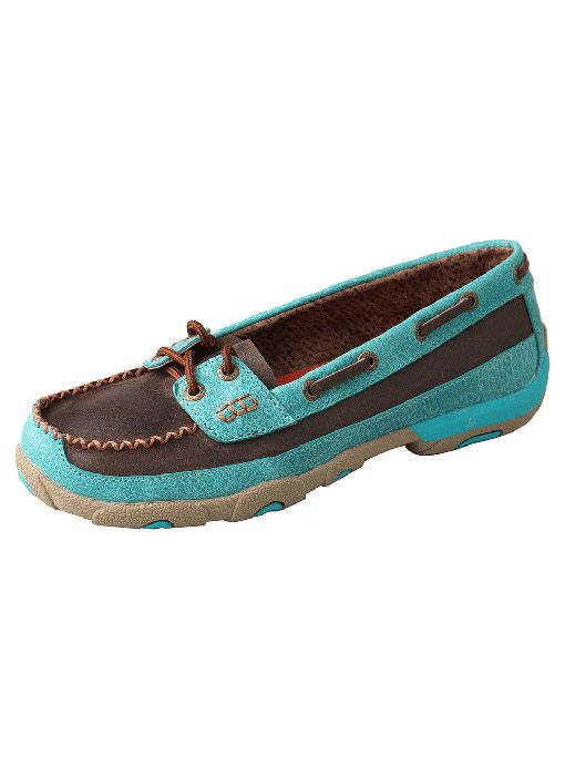 Twisted X, Inc Women's Twisted X Driving Moc - Brown/Turq