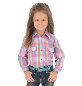 Wrangler Girl's Wrangler Plaid Western Snap Shirt - Purple Turquoise