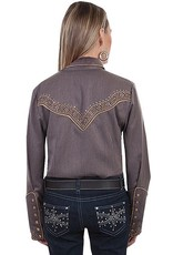 Scully Women's Scully Embroidered Shirt w/ Studs, Heather Brown