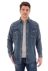 Wrangler Men's Cowboy Cut® Long Sleeve Western Snap Indigo Slub Denim Shirt