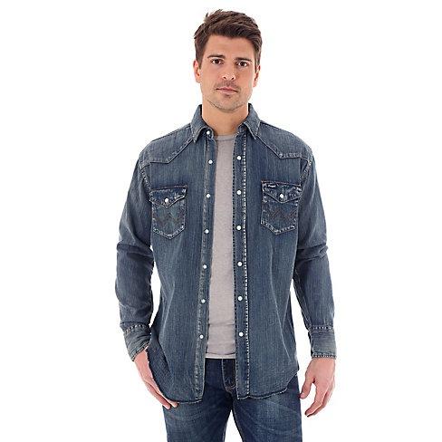 Wrangler Men's Wrangler Cowboy Cut® Long Sleeve Western Snap Indigo Slub Denim Shirt