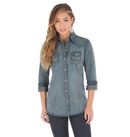 Wrangler Women's Long Sleeve Western Snap Front Denim Top