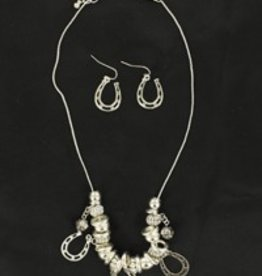 Set - Necklace/Earrings - Beaded with Horseshoes