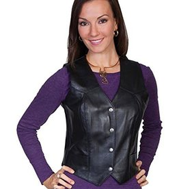 Scully Sportswear, INC Women's Soft Touch Lamb Leather Vest, Black
