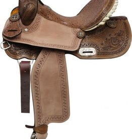 """Double T Double T Barrel Saddle with Brown Filigree Seat - 16"""""""