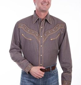 Scully Sportswear, INC Men's Scully Embroidered Heather Brown