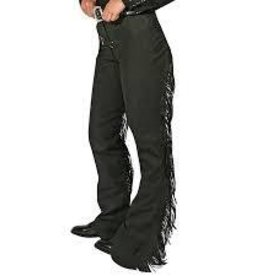 Royal Highness Women's Black Ultra Suede Leather Fringe Chaps