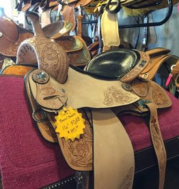 "Circle J Circle J 16"" Light Oil Barrel Saddle with Black Faux Reptile Seat - FQHB"
