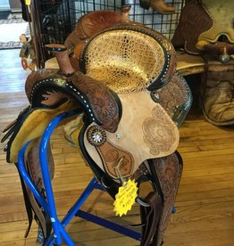 "Circle J Circle J 14"" Barrel Saddle Tri-Colored with Faux Crocodile Seat - FQHB"