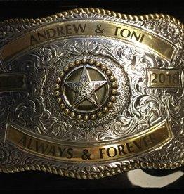 "Custom Engraved Crumrine Belt Buckle - 3-1/4""x4-1/4"""