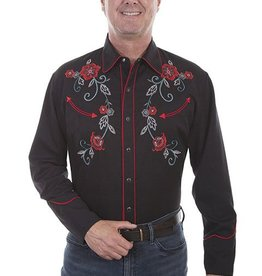 Scully Sportswear, INC Men's Scully Floral Vine Embroidery, Black