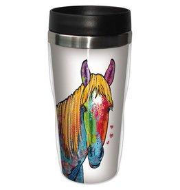 GT Reid Travel Mug - 16oz Multi Color Horse on White