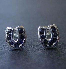 Baron Silver Earrings - Sapphire Horseshoe
