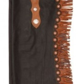 Tough-1 Premium Smooth Leather Custom Cowboy Cutting Chaps, Brown