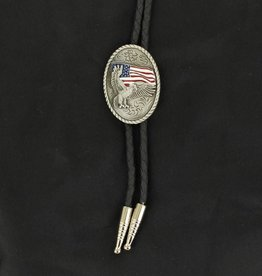 Double S Bolo Tie - Eagle with USA Flag
